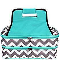 Gray Chevron Insulated Double Casserole Tote with Aqua Trim #ZIG391-AQUA