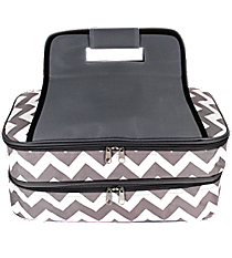 Gray Chevron Insulated Double Casserole Tote #ZIG391-GRAY