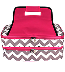 Gray Chevron Insulated Double Casserole Tote with Hot Pink Trim #ZIG391-H/PINK