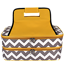 Gray Chevron Insulated Double Casserole Tote with Yellow Trim #ZIG391-YELLOW