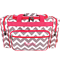 "20"" Gray Chevron Duffle Bag with Hot Pink Trim #ZIG420-H/PINK"