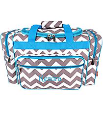 "20"" Gray Chevron Duffle Bag with Turquoise Trim #ZIG420-TURQ"