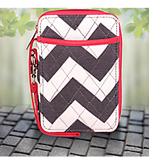 Gray Chevron with Hot Pink Trim Quilted Wristlet #ZIG495-H/PINK