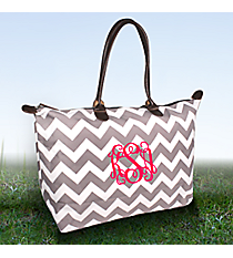 Gray Chevron Large Tote Bag #ZIG553-GRAY
