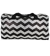 "21"" Black Sequined Chevron Duffle Bag #ZIQ592-BLACK"