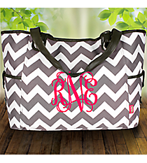 Gray Chevron Wide Tote #ZIG616-GRAY
