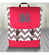 Gray Chevron Backpack with Hot Pink Trim #ZIG650-H/PINK