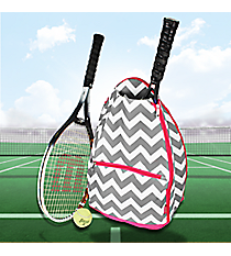 Gray Chevron Tennis Backpack with Hot Pink Trim #ZIG734-HPINKis Backpack with Hot Pink Trim #ZIB734-HPINK