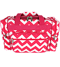 "17"" Hot Pink Chevron Duffle Bag #ZIH417-H/PINK"