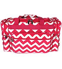 "20"" Hot Pink Chevron Duffle Bag #ZIH420-H/PINK"