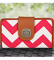 Hot Pink Chevron Clutch Wallet #ZIH694-H/PINK
