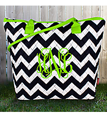 Navy Chevron Quilted Shoulder Bag with Lime Trim #ZIM1515-NAVY/LIM