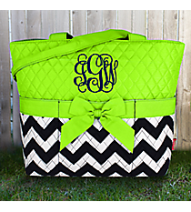 Navy Chevron Quilted Diaper Bag with Lime Trim #ZIM2121-NAVY/LIM