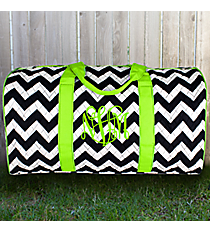 "21"" Navy Chevron Quilted Duffle Bag with Lime Trim #ZIM2626-NAVY/LIM"
