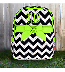 Navy Chevron Quilted Large Backpack with Lime Trim #ZIM2828-NAVY/LIM