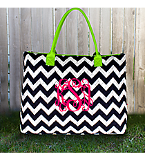 Navy Chevron Quilted Large Shoulder Tote with Lime Trim #ZIM3907-NAVY/LIM