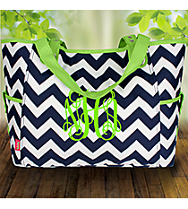 Navy Chevron Wide Tote with Lime Trim #ZIM616-NAVY/LIM