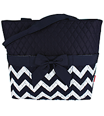 Navy Chevron Quilted Diaper Bag #ZIN2121-NAVY/WH
