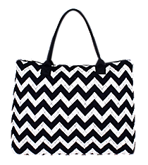 Navy Chevron Quilted Large Shoulder Tote #ZIN3907-NAVY/WH