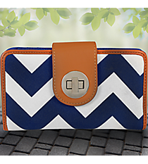 Navy Chevron Clutch Wallet #ZIN694-NAVY