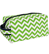Lime and White Chevron with Navy Trim Travel Bag #ZIP-LMNV