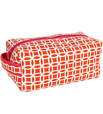 Orange and White Interlocking Circles with Pink Trim Travel Bag #ZIP-ORPK