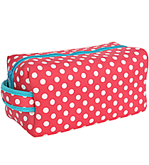 Pink and White Polka Dots with Turquoise Trim Travel Bag #ZIP-PKTQ