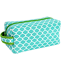 Turquoise and White Geometric Print with Lime Trim Travel Bag #ZIP-TQLM