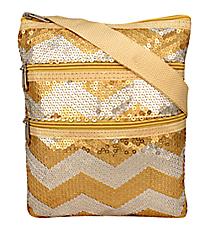 Gold Sequined Chevron Crossbody Bag #ZIQ231-GOLD