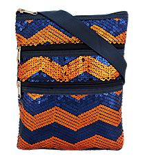 Navy and Orange Sequined Chevron Crossbody Bag #ZIQ231-NAVY/OR