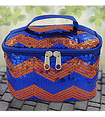 Royal Blue and Orange Sequined Chevron Case #ZIQ277-ROY-NAVY/OR
