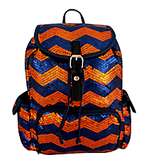 Navy and Orange Sequined Chevron Backpack #ZIQ2929-NAVY/OR