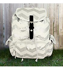 White Sequined Chevron Backpack #ZIQ2929-WHITE