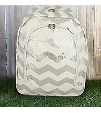 White Sequined Chevron Large Backpack #ZIQ403-WHITE