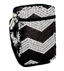 Black Sequined Chevron Wristlet #ZIQ501-BLACK