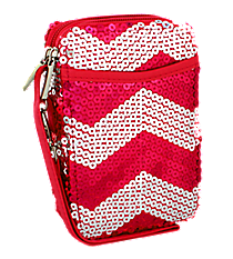 Hot Pink Sequined Chevron Wristlet #ZIQ501-H/PINK