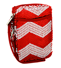 Red Sequined Chevron Wristlet #ZIQ501-RED