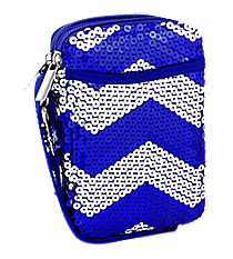 Royal Blue Sequined Chevron Wristlet #ZIQ501-ROY/NAVY