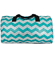"21"" Aqua Sequined Chevron Duffle Bag #ZIQ592-AQUA"