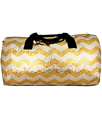 "21"" Gold Sequined Chevron Duffle Bag #ZIQ592-GOLD"