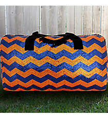 "21"" Navy and Orange Sequined Chevron Duffle Bag #ZIQ592-NAVY/OR"
