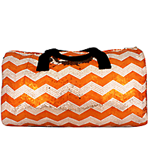 "21"" Orange Sequined Chevron Duffle Bag #ZIQ592-ORANGE"