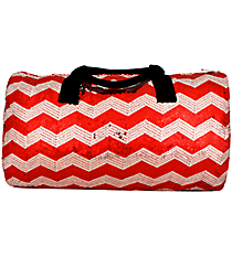 "21"" Red Sequined Chevron Duffle Bag #ZIQ592-RED"