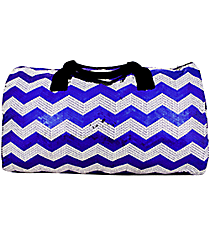 "21"" Royal Blue Sequined Chevron Duffle Bag #ZIQ592-ROY/NAVY"