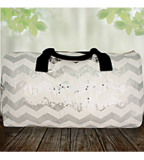 "21"" White Sequined Chevron Duffle Bag #ZIQ592-WHITE"