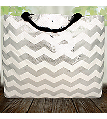 White Sequined Chevron Large Shoulder Tote #ZIQ678-WHITE