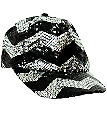 Black and Silver Chevron Sequined Cap #ZIQ899-BLACK