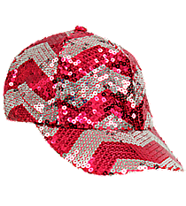 Hot Pink and Silver Chevron Sequined Cap #ZIQ899-H/PINK