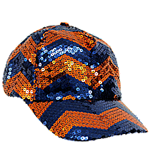 Navy and Orange Chevron Sequined Cap #ZIQ899-NAVY/OR