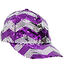 Purple and Silver Chevron Sequined Cap #ZIQ899-PURPLE